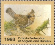 Ontario Federation of Anglers and Hunters Duck Stamp 1993 Ruffed Grouse