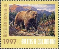 British Columbia Conservation Fund Duck Stamp 1997 Grizzly Bear