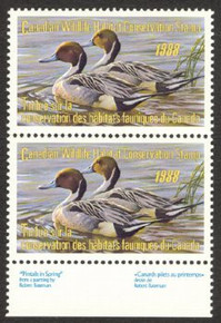 Canada Duck Stamp 1988 Pintails Vertical pair with selvage