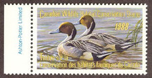 Canada Duck Stamp 1988 Pintails Sheet type with selvage