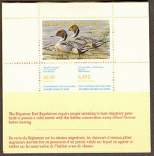 Canada Duck Stamp 1988 Pintails Booklet