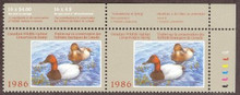 Canada Duck Stamp 1986 Canvasbacks Horizontal pair with selvage