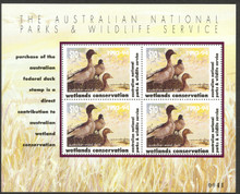 Australia Duck Stamp 1993 Australian Wood Duck Mini Sheet of 4 Stamps