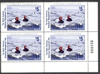North America Waterfowl Mgmt Duck Stamp 1990 Redheads by Daniel Smith VF-XF NH Plate block of four