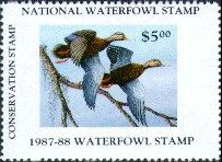 National Waterfowl Alliance Duck Stamp 1987 Black Mallards Conservation Stamp