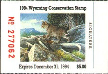 Wyoming Duck Stamp 1994 Bobcat.
