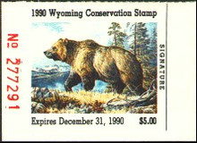 Wyoming Duck Stamp 1990 Grizzly Bear