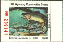 Wyoming Duck Stamp 1988 Cut - Throat Trout.