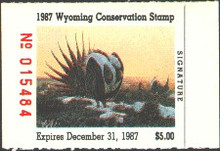 Wyoming Duck Stamp 1987 Sage Grouse