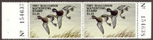 Wisconsin Duck Stamp 1981 Lesser scaup Horizontal pair with left and right serial # tabs both sides