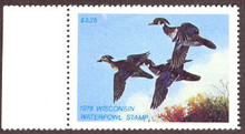 Wisconsin Duck Stamp 1978 Wood Ducks with tab