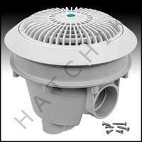 "N1875 AQUASTAR 8"" STAR MAIN DRAIN WHITE W/ADJ. COLLAR & LOW PROFILE GRATE"