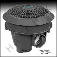 "N1877 AQUASTAR 8"" STAR MAIN DRAIN D-GRAY DARK GRAY W/ADJ. COLLAR & LOW PROFILE GRATE W/SOLID"