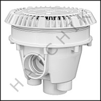 "N1890 AQUASTAR 8"" RND MAIN DRAIN WHITE W/ADJ. COLLAR & LOW PROFILE GRATE"