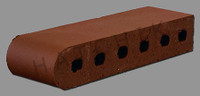 "T7040 BRICK COPING  SBN  BURGUNDY 3-1/2"" X 2-3/16"" X 11-1/2"