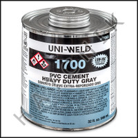 V1004 PVC CEMENT QUART GREY H D COLOR: GRAY