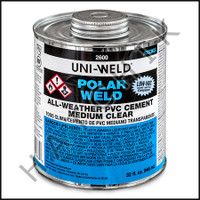 V1022 PVC CEMENT POLAR WELD QUART CLEAR WEATHER  QUART