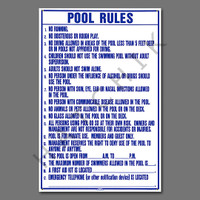 "X4036 SIGN-""POOL RULES"" 24""X36"" #R234100 SIGN POOL RULES 6  PK N.CAROLINA 24 X 36"