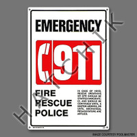 "X4014 SIGN-""911 EMERGENCY"" #40331"