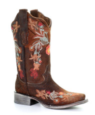 Corral A3707 Womens Chocolate Lamb Leather Floral Square Toe Western Boots
