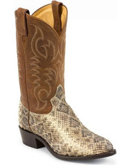 "Tony Lama 6971 Men's Natural Leather Rattlesnake 12"" Western Boots"