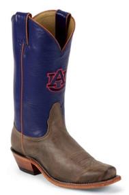 Nocona LDAUB22 Women's Auburn Blue/Tan Vintage Cowhide Branded College Boot Size 9.5B