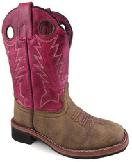 Smoky Mountian Tracie 3920-C Girls' Brown Distress & Pink Square Toe Western Boot