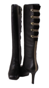 Rockport Luciana Corset Women's Black Leather Knee High Dress Fashion Boots