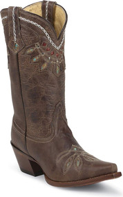 "Tony Lama Women's VF6015 Guadalupe 11"" Distressed Brown Boots"
