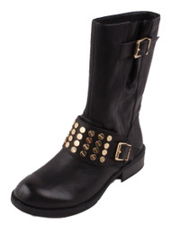 Jessica Simpson Skylare Women's Black Leather Motorcycle Fashion Boots