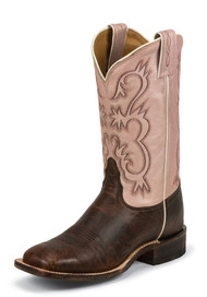 Tony Lama Americana 7913L Pecan Bison Square Toe Womens Western Boots