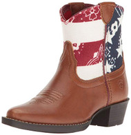 ARIAT 10019917 July Kids Leather Yukon Brown/Patriotic Print Western Boots