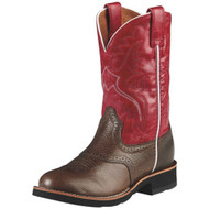 ARIAT 10008722 Heritage Crepe Kids Leather Washed Brown/Mega Red Western Boots