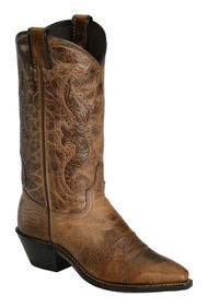 Abilene 9141 Womens Brown Leather Hand Tooled Inlay Snip Toe Cowgirl Boots