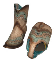 CORRAL C3527 LD Orix/Turquoise Womens Leather 2 in 1 Switchable Western Boots