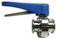 "L-Style Sanitary Butterfly Valve 304 Stainless Clamp Ends 1.5"" Blue Plastic Handle EPDM Seat"
