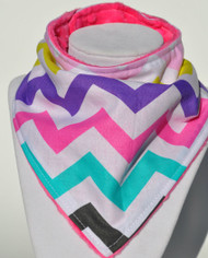 Girly Chevron with pink minky bandana bib