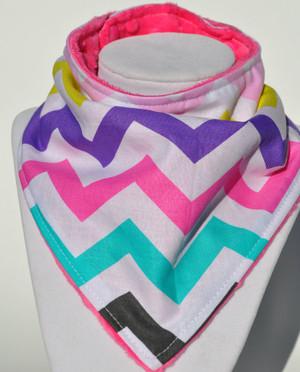 Girly Chevron with pink minky bandana bib