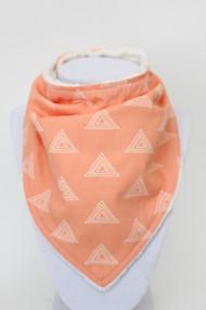 Peach Triangles bandana bib with ivory minky back.