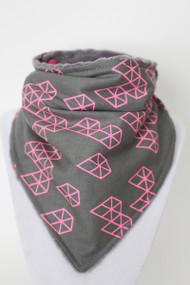 Pink Diamonds Bandana Bib with grey minky back. Pattern placement varies.