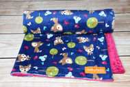 Oh Deer Midnight stroller blanket.  Double minky!