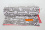 Grey Arrows stroller blanket with coral minky back