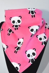 Pink Panda bandana bib with bamboo backing