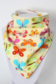 Yellow Butterfly bandana bib with organic bamboo back.