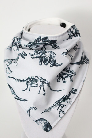 Dinosaurs bandana bib with bamboo back.