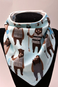 Fishing Bears bamboo backed bandana bib