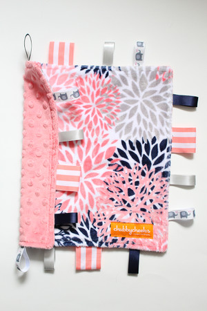 Navy/Pink Floral Blooms small tag blanket with pink back