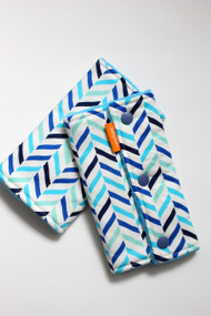 Blue Herringbone baby carrier drool pads - no ribbons
