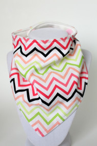 Watermelon Chevron bandana bib with bamboo back