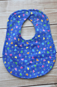 Hearts on blue classic bib